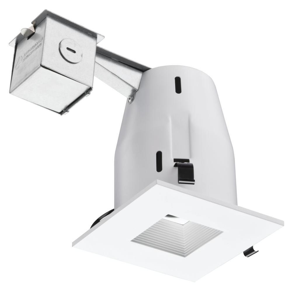 4 in matte white 3000k led square baffle recessed lighting kit matte white 3000k led square baffle recessed lighting kit mozeypictures Gallery